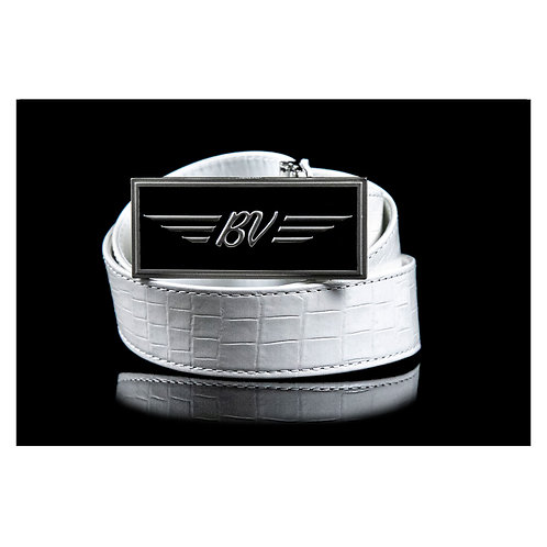 BV Buckle & M's Design Croco Emboss Leather Belt       (White)