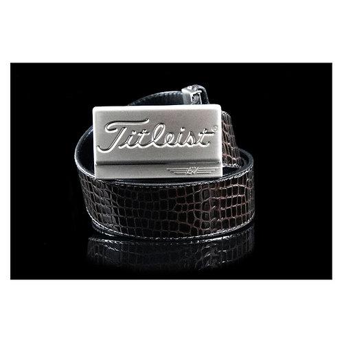 Titleist Buckle & M's Design Croco Emboss Leather Belt (Black/Brown)