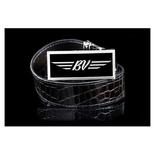 BV Buckle & M's Design Croco Emboss Leather Belt (Black/Brown)
