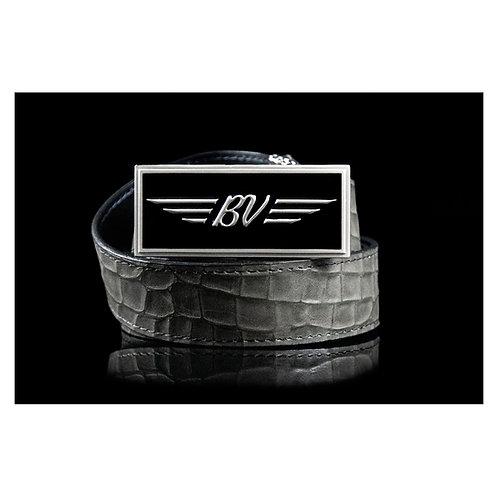 BV Buckle & M's Design Croco Emboss Leather Belt      (Khaki)