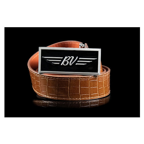 BV Buckle & M's Design Croco Emboss Leather Belt (Brown)