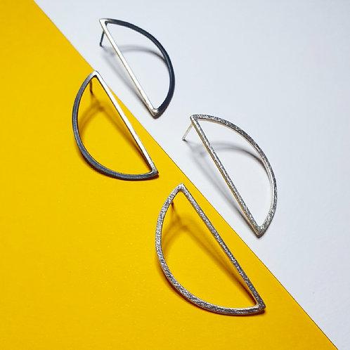 Silver Arc Hoop Earrings (XL)