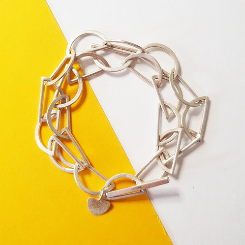Double Silver Arc Chain Bracelet