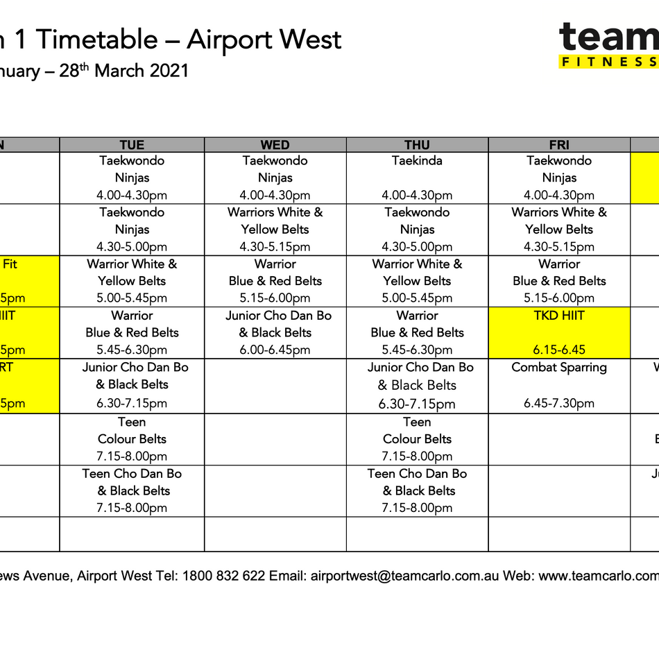 Airport West Timetable