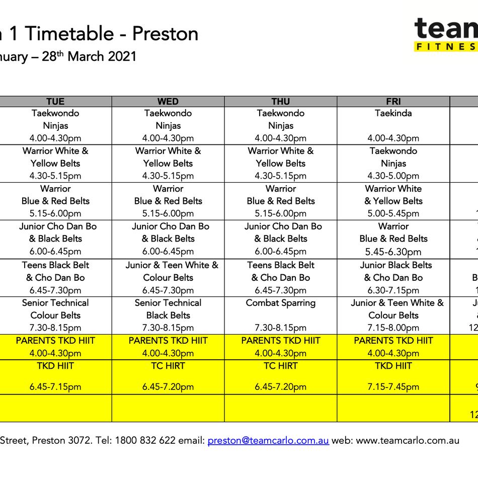 Preston Timetable