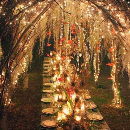 boho wedding fairy lights seating