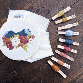 Buffalo and Red Peak Floral Embroidery