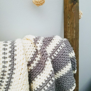 Gray and White Modern Baby Blanket