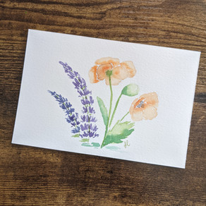 Lupines and Poppies Watercolor