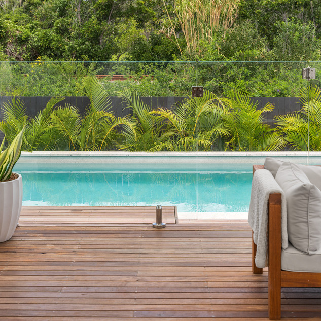 Outdoor seating and swimming pool