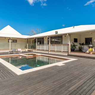 Outdoor swimming pool and deck