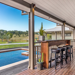 Outdoor entertaining area overlooking pool