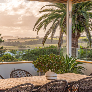 Outdoor seating with hinterland views