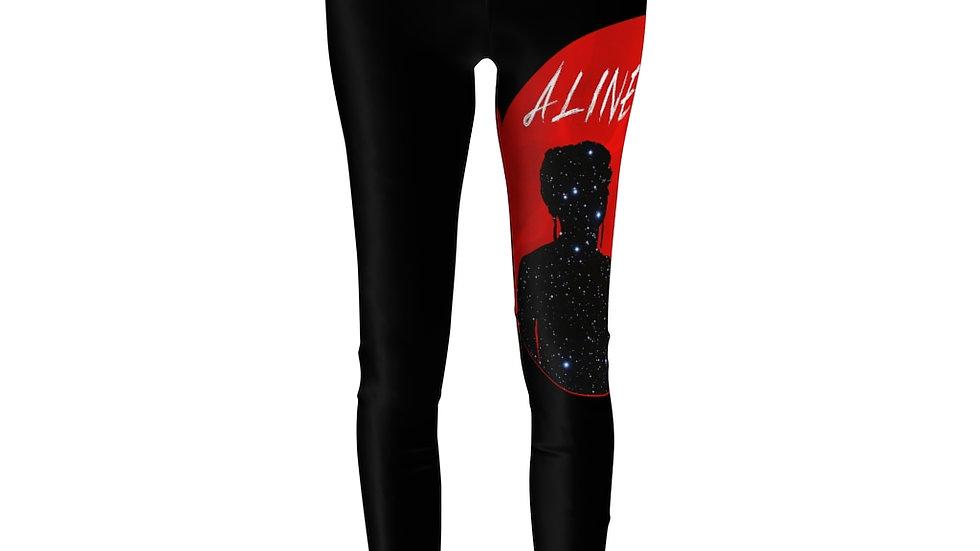 Women's Cut & Sew Casual Leggings - Red Moon