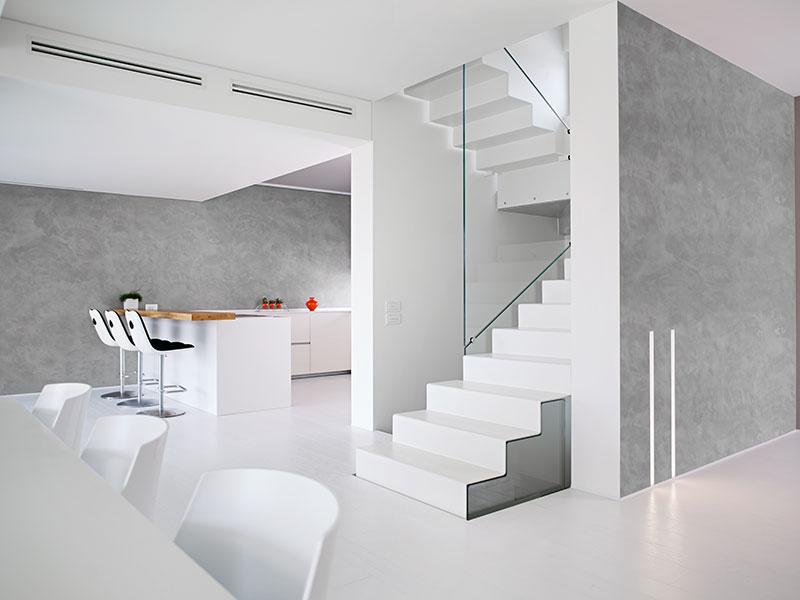 sol coulé lissé blanc - mur béton millimetrique gris