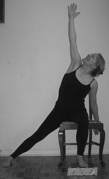 Liz Franklin in Chair Yoga Triangle Pose