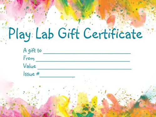Play Lab Gift Certificate $15
