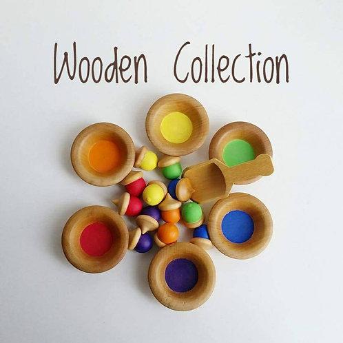 Wooden Acorn Matching Set