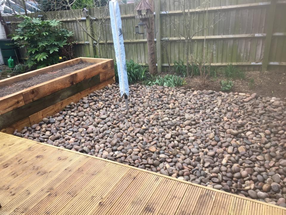 A pebbled area