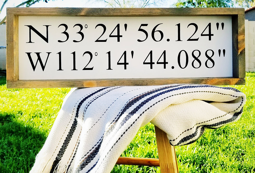 Latitude Longitude GPS Coordinates - Wood Sign