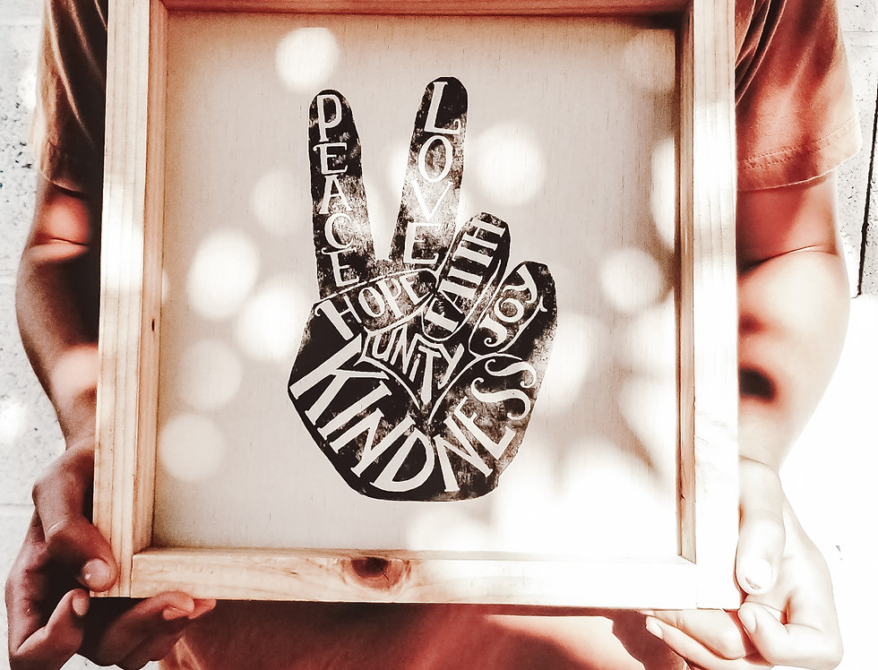 Peace Sign Wood Sign- Peace, Love, Faith, Joy, Unity & Kindness