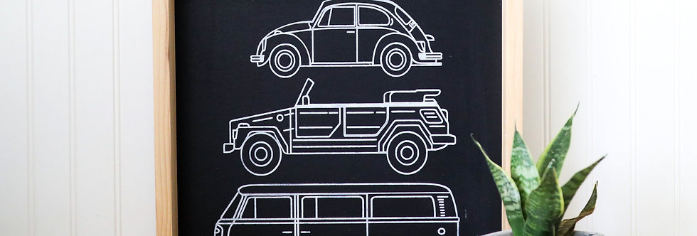 VW BUG, THING & BUS - Wood Sign