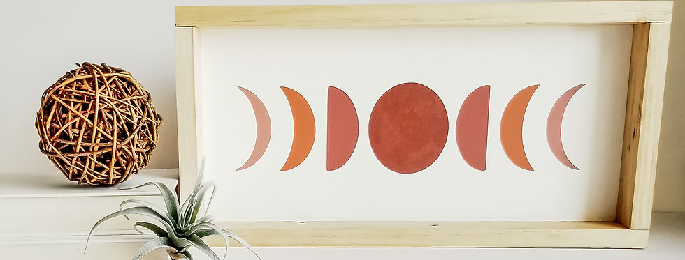 Moon Phases- Wood Sign