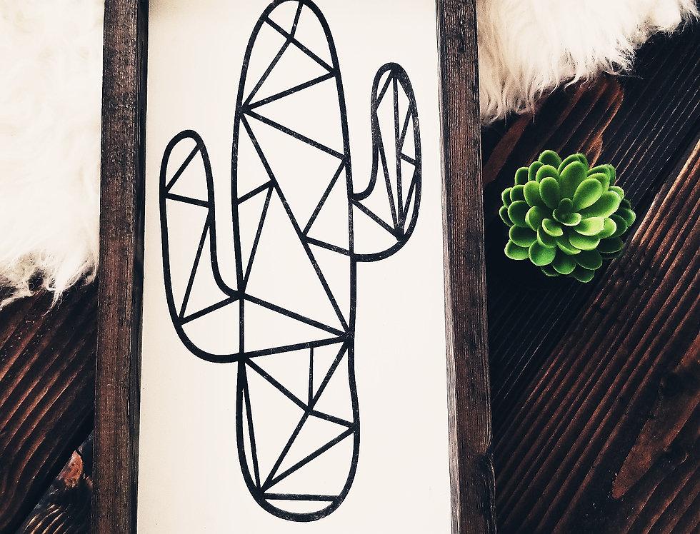 Modern Geometric White & Black Cacti- Wooden Frame