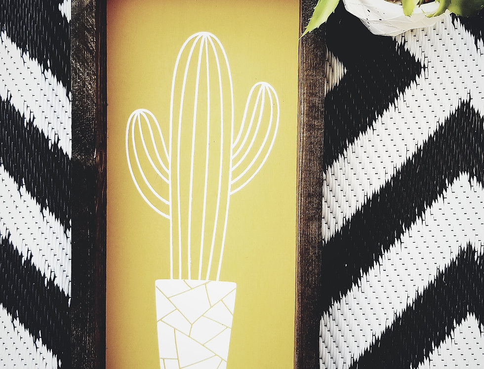 Modern Potted Yellow Cacti- Wooden Frame
