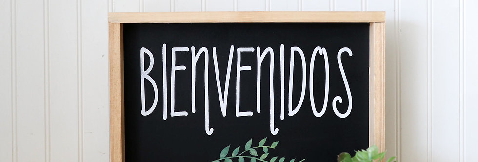 Bienvenidos/Welcome- Wood Frame – Wood Home Wall Décor - Spanish Wood Decor