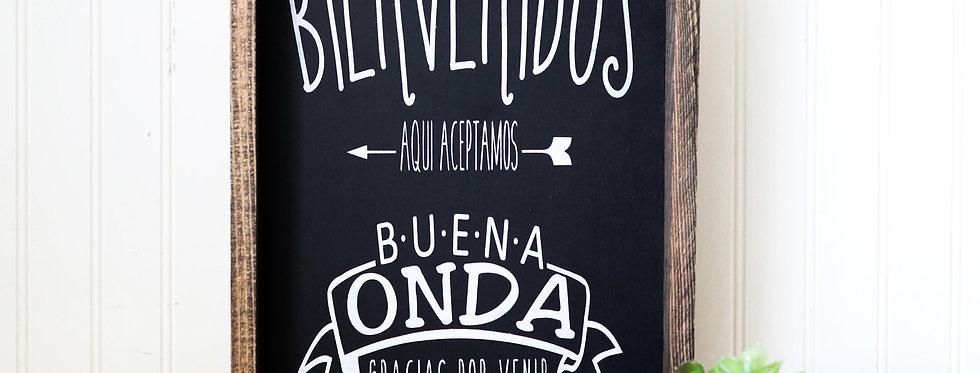 Bienvenidos/Welcome- Wood Frame – Wood Home Wall Décor - Spanish Wood Decor