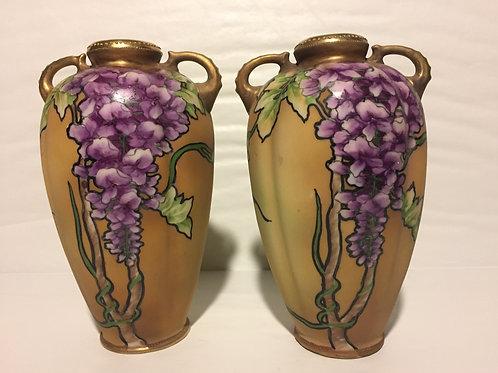 Wisteria motif old Nippon vase (pair)