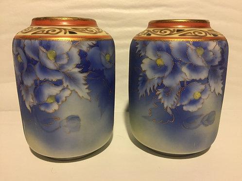 Cobalt white orchid vase (pair)