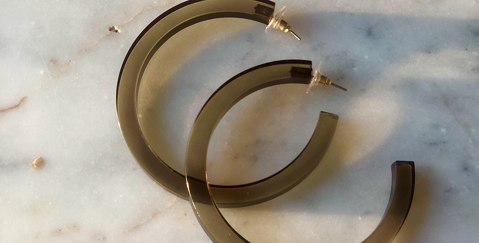 Olive Lucite Hoop Earrings