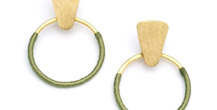 Kaia Earrings - Olive Hoop