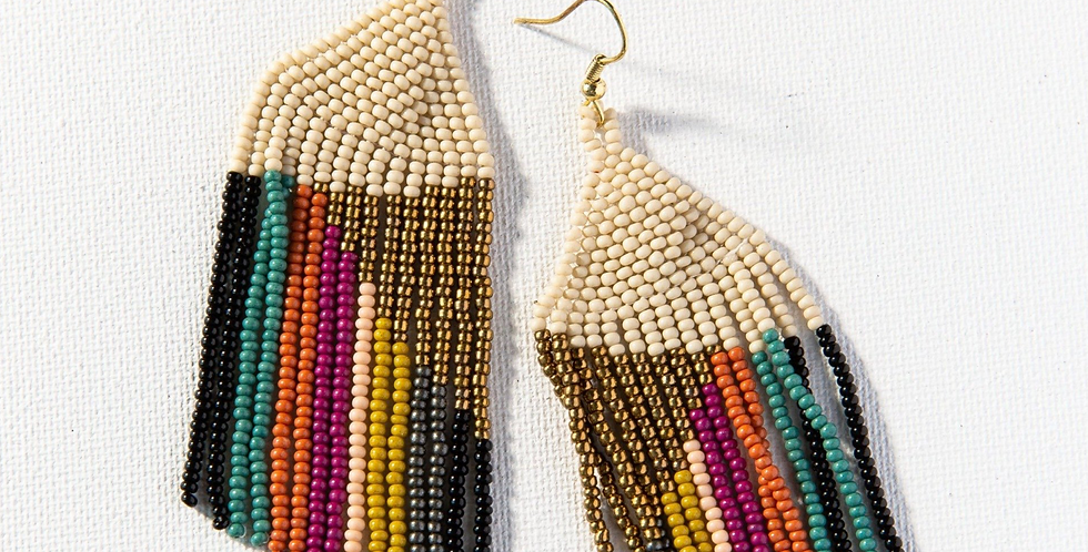 Gold Ivory Muted Stripe Earring