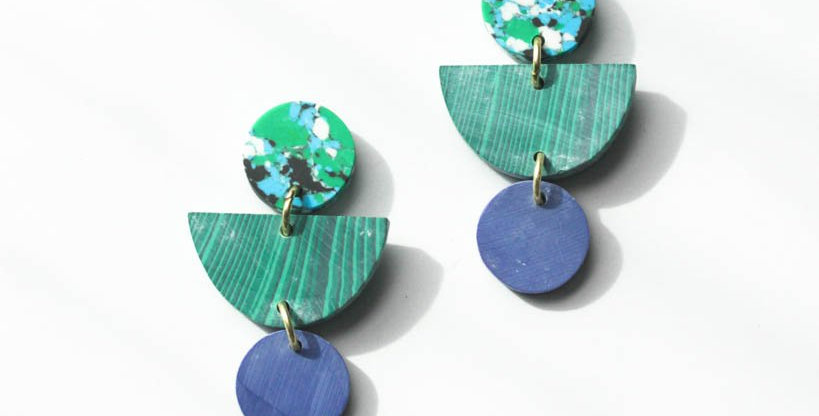 Geo Clay Earrings - Rainforest