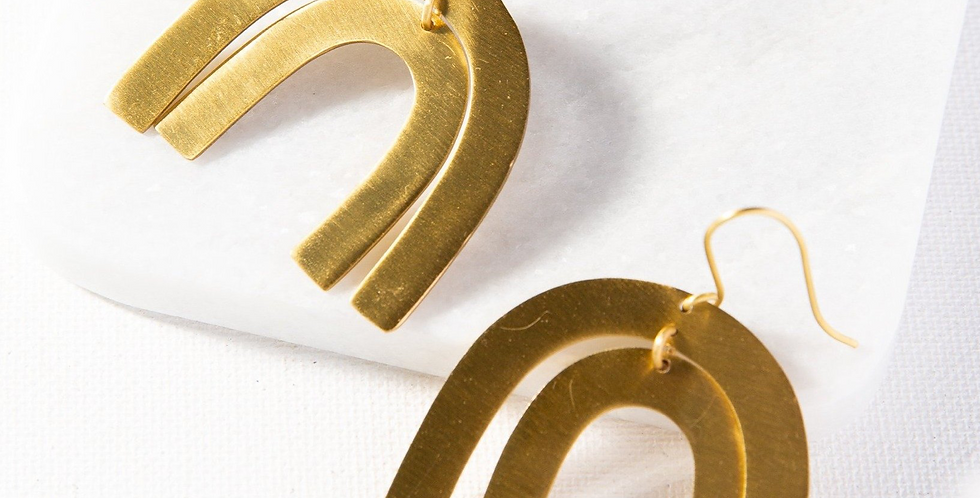Matte Brass Rainbow Earring