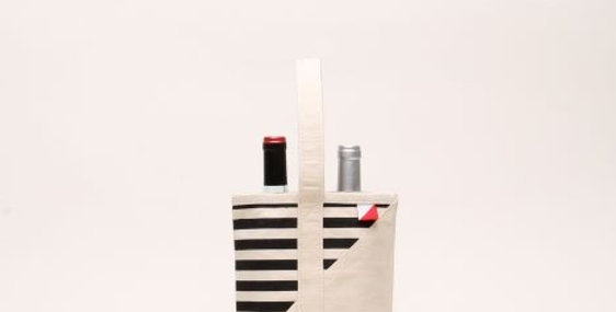 Contemporary Wine Bag - Striped Natural