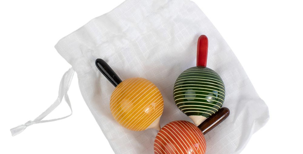 Wood Spinning Tops (Set of 3)
