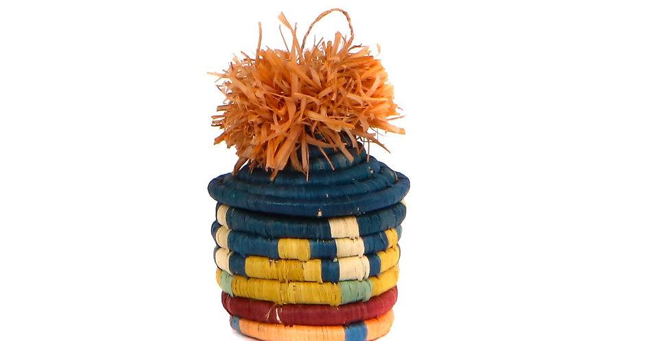 Teal + Blossom Pom Pom Basket Ornament