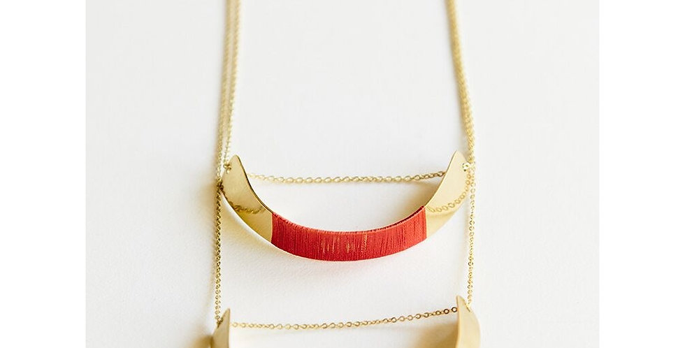 Threaded Helix Red Necklace