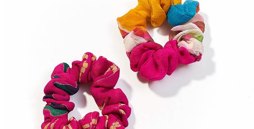 Upcycled Sari Scrunchies (Set of 2)