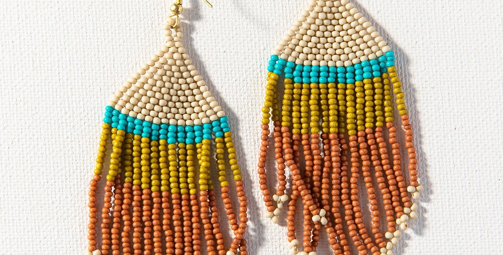 Rust Ivory Citron with Turquiose Stripe Fringe Earring