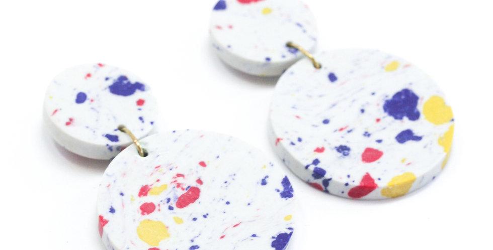 Confetti Clay Earrings - White