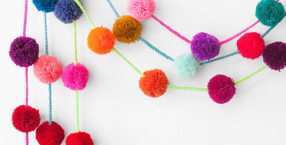 Pom Pom Garland - Multicolor Solid