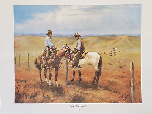 Fence Line Gossips Print by Ted Long