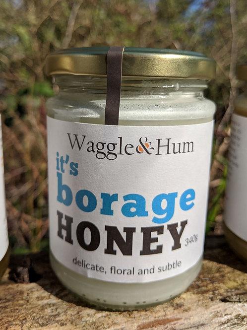 Waggle and Hum Borage Honey 340g jar