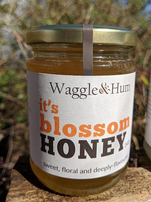 Waggle and Hum Blossom Honey 340g jar