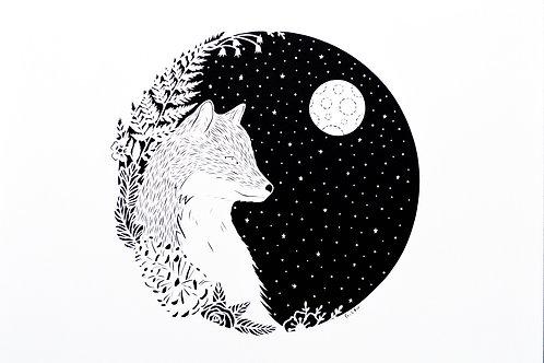 Fox +the Moon Print